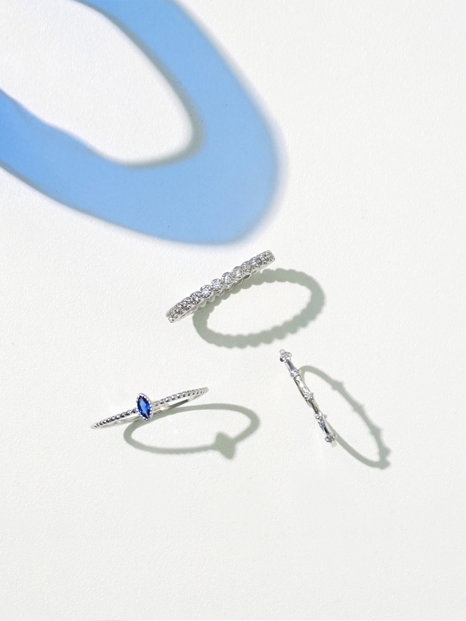 Blue oval 3set ring