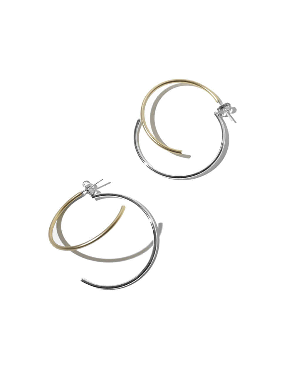 Plain layered ring earrings