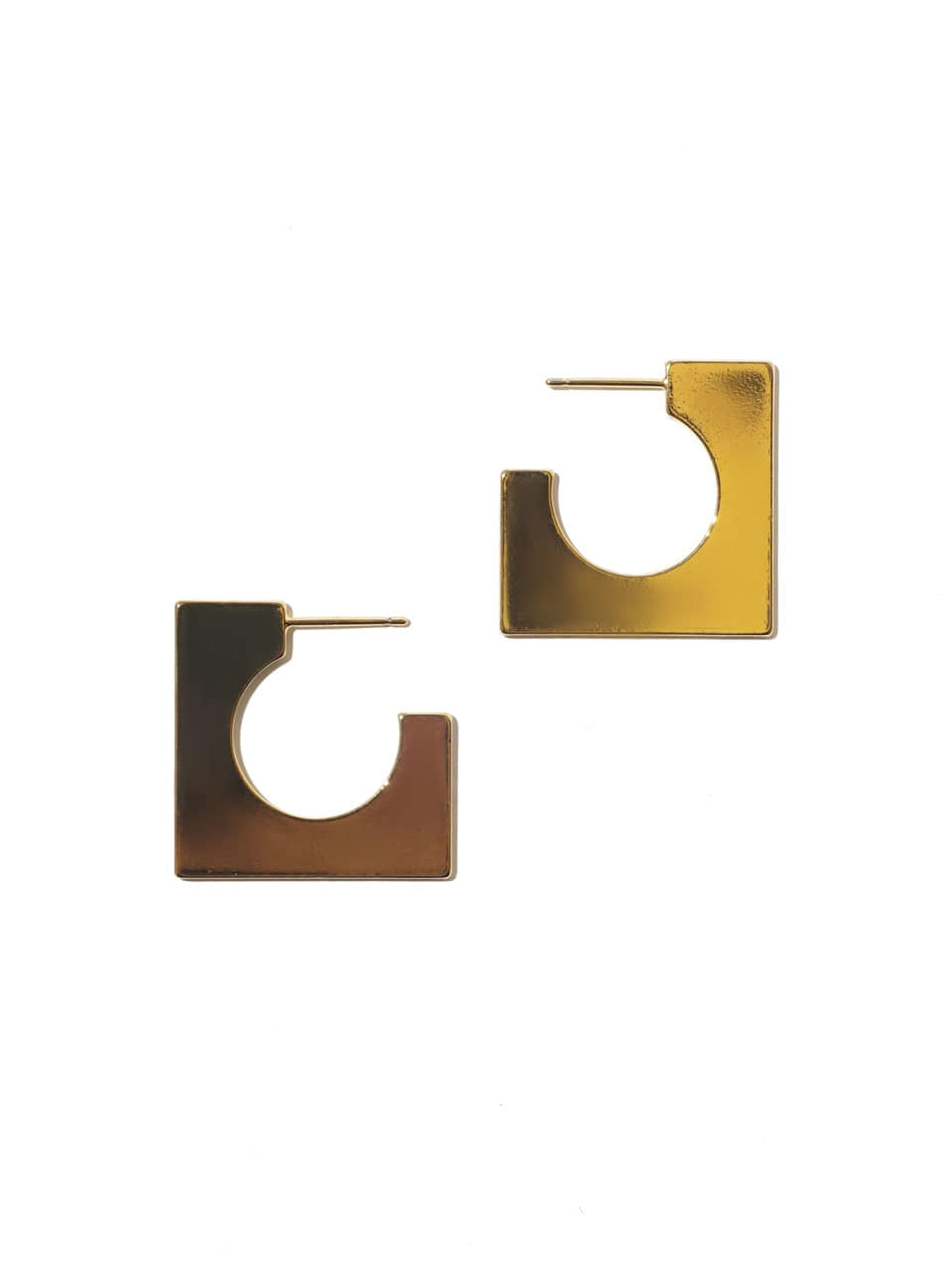 Flat square ring earrings