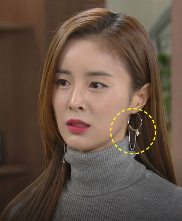 [한혜린착용] Unbalanced 2chain ring earrings