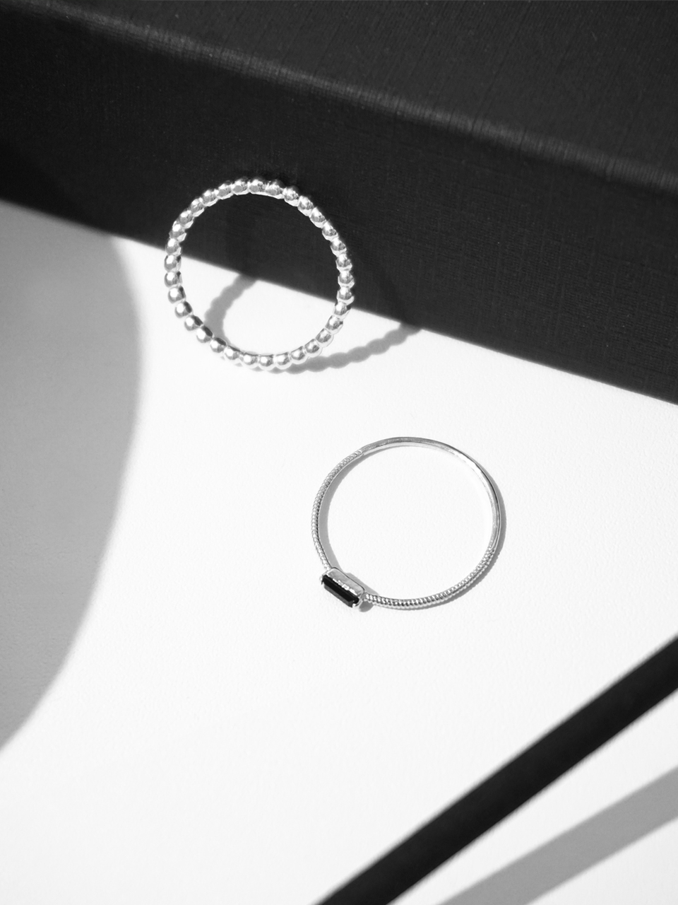 Black square set ring