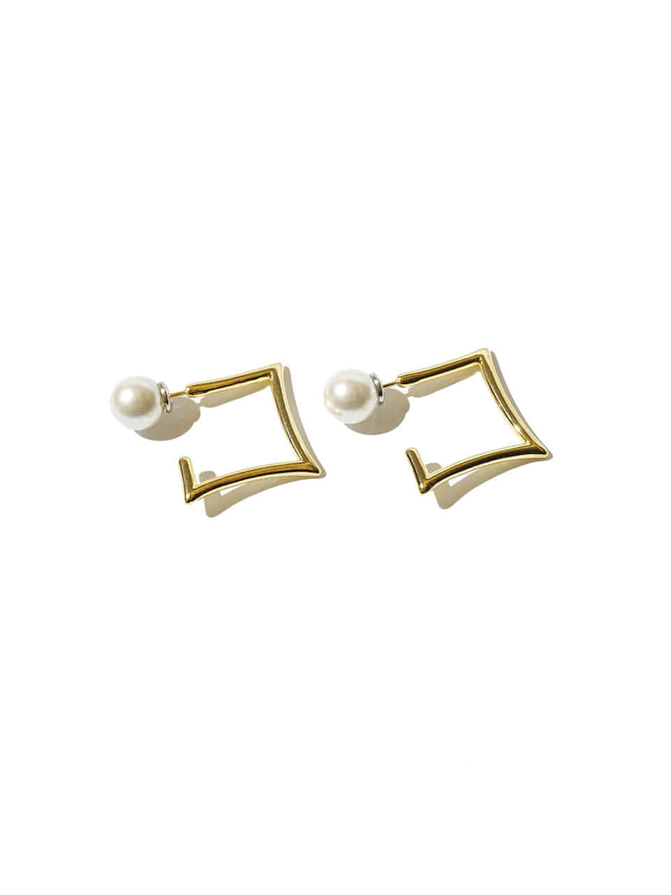 Edge square earrings