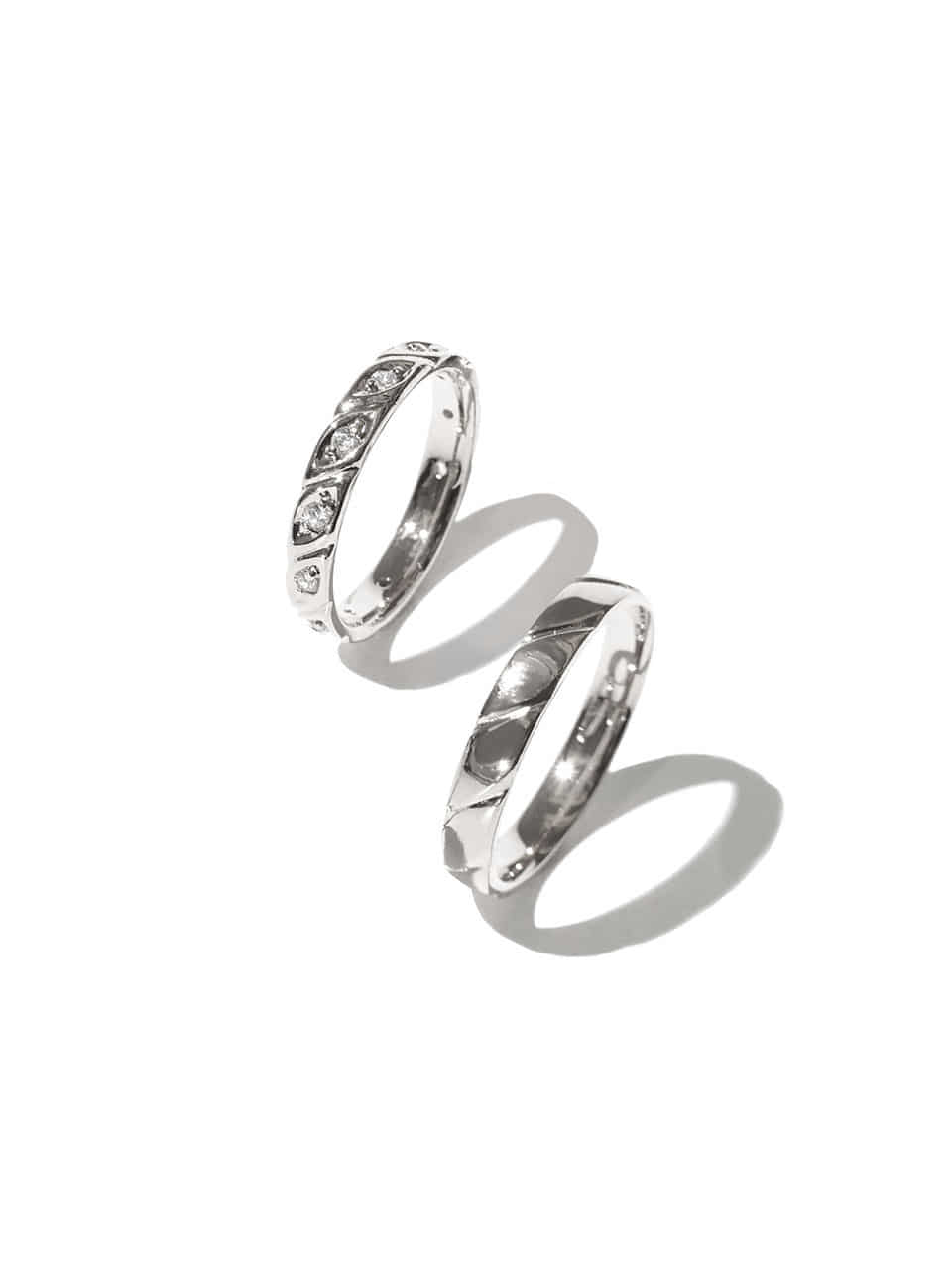 Baguette couple ring (Sterling silver 925)
