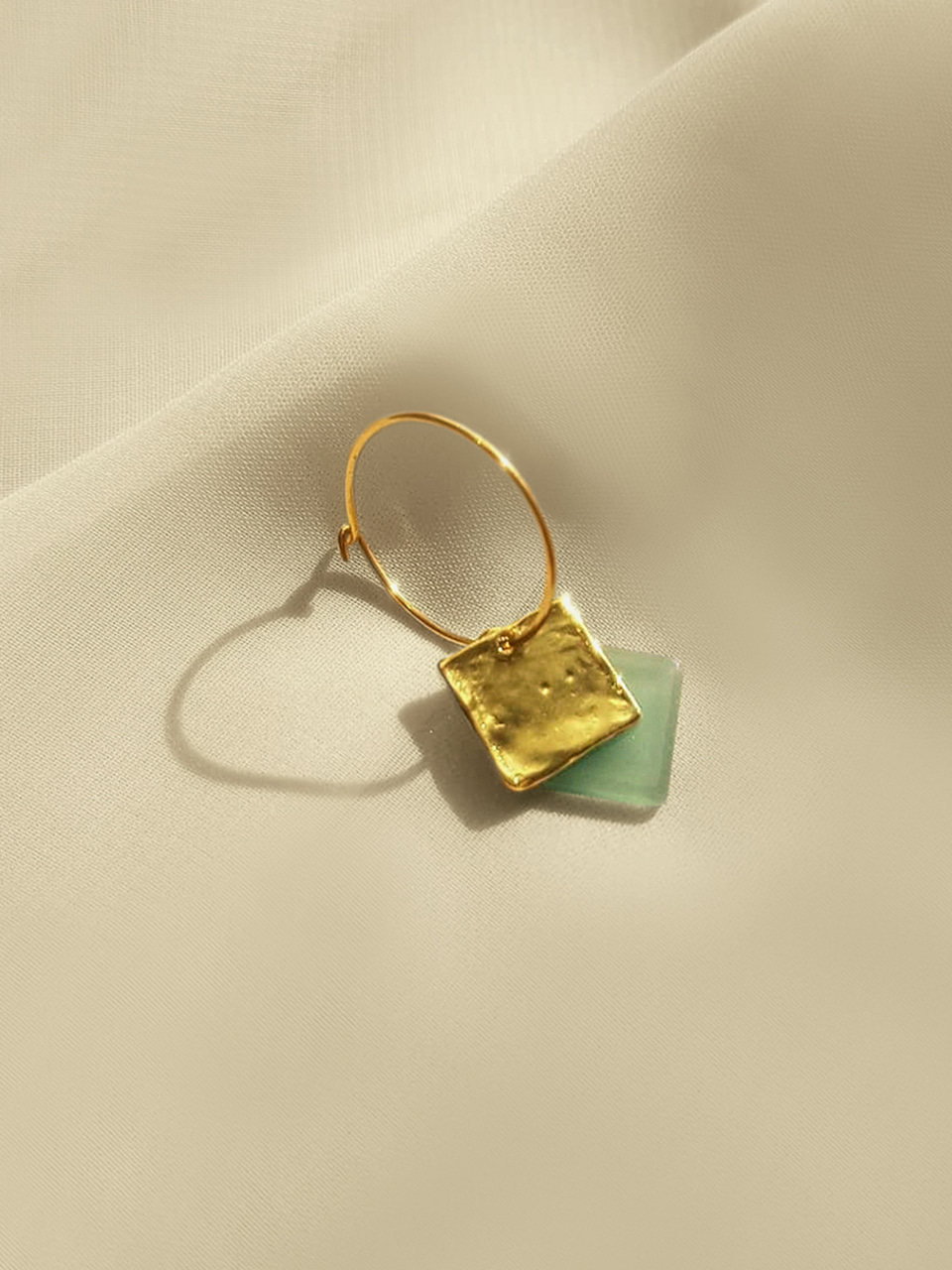 Another square earrings_lilygreen (어나더스퀘어귀걸이_릴리그린)